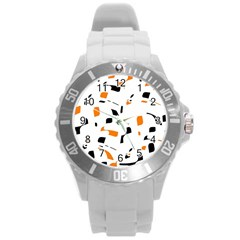 Orange, White And Black Pattern Round Plastic Sport Watch (l) by Valentinaart