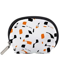 Orange, White And Black Pattern Accessory Pouches (small)  by Valentinaart