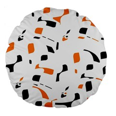 Orange, White And Black Pattern Large 18  Premium Flano Round Cushions by Valentinaart