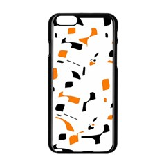 Orange, White And Black Pattern Apple Iphone 6/6s Black Enamel Case by Valentinaart