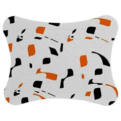 Orange, White And Black Pattern Jigsaw Puzzle Photo Stand (bow) by Valentinaart