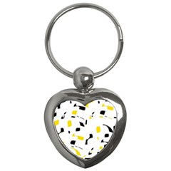 Yellow, Black And White Pattern Key Chains (heart)  by Valentinaart