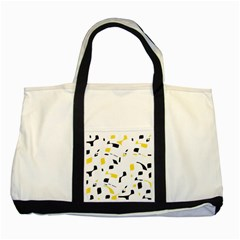 Yellow, Black And White Pattern Two Tone Tote Bag by Valentinaart