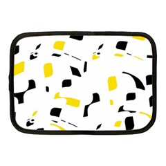 Yellow, Black And White Pattern Netbook Case (medium)  by Valentinaart