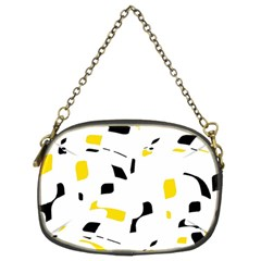 Yellow, Black And White Pattern Chain Purses (two Sides)  by Valentinaart