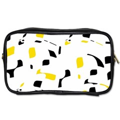 Yellow, Black And White Pattern Toiletries Bags by Valentinaart