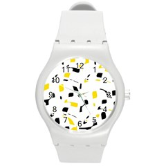 Yellow, Black And White Pattern Round Plastic Sport Watch (m) by Valentinaart
