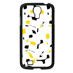 Yellow, Black And White Pattern Samsung Galaxy S4 I9500/ I9505 Case (black) by Valentinaart