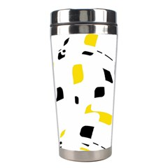 Yellow, Black And White Pattern Stainless Steel Travel Tumblers by Valentinaart