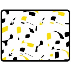 Yellow, Black And White Pattern Double Sided Fleece Blanket (large)  by Valentinaart