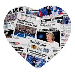 Hillary 2016 Historic Newspaper Collage Ornament (heart)  by blueamerica