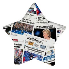 Hillary 2016 Historic Newspaper Collage Ornament (star)  by blueamerica