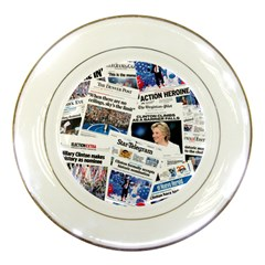 Hillary 2016 Historic Newspaper Collage Porcelain Plates by blueamerica