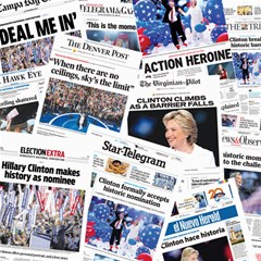 Hillary 2016 Historic Newspaper Collage Canvas 16  X 16   by blueamerica