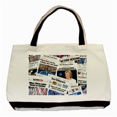 Hillary 2016 Historic Newspaper Collage Basic Tote Bag (two Sides) by blueamerica