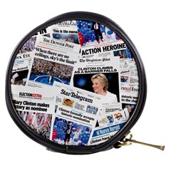 Hillary 2016 Historic Newspaper Collage Mini Makeup Bags by blueamerica