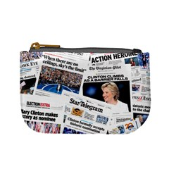 Hillary 2016 Historic Newspaper Collage Mini Coin Purses by blueamerica