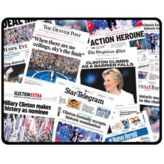 Hillary 2016 Historic Newspaper Collage Double Sided Fleece Blanket (medium)  by blueamerica