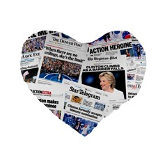 Hillary 2016 Historic Newspaper Collage Standard 16  Premium Flano Heart Shape Cushions by blueamerica