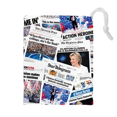 Hillary 2016 Historic Newspaper Collage Drawstring Pouches (extra Large) by blueamerica