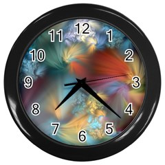 More Evidence Of Angels Wall Clocks (black) by WolfepawFractals