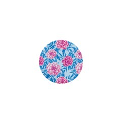 Blue & Pink Floral 1  Mini Buttons by TanyaDraws