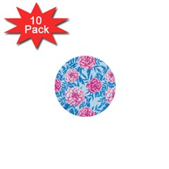 Blue & Pink Floral 1  Mini Buttons (10 Pack)  by TanyaDraws