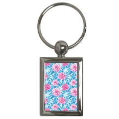 Blue & Pink Floral Key Chains (rectangle)  by TanyaDraws