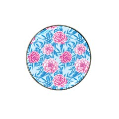 Blue & Pink Floral Hat Clip Ball Marker by TanyaDraws