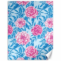 Blue & Pink Floral Canvas 18  X 24   by TanyaDraws