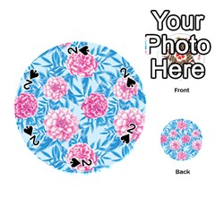Blue & Pink Floral Playing Cards 54 (round)