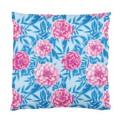Blue & Pink Floral Standard Cushion Case (one Side) by TanyaDraws