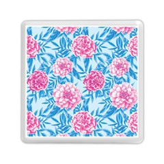 Blue & Pink Floral Memory Card Reader (square)  by TanyaDraws
