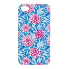 Blue & Pink Floral Apple Iphone 4/4s Premium Hardshell Case by TanyaDraws