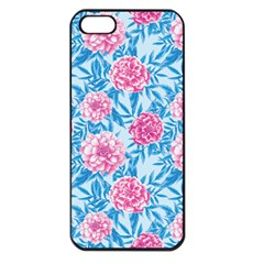 Blue & Pink Floral Apple Iphone 5 Seamless Case (black) by TanyaDraws