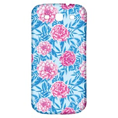 Blue & Pink Floral Samsung Galaxy S3 S Iii Classic Hardshell Back Case by TanyaDraws