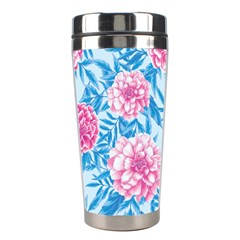 Blue & Pink Floral Stainless Steel Travel Tumblers by TanyaDraws