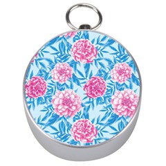 Blue & Pink Floral Silver Compasses by TanyaDraws
