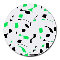 Green, Black And White Pattern Round Mousepads by Valentinaart