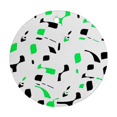 Green, Black And White Pattern Ornament (round)  by Valentinaart