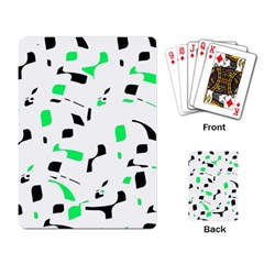 Green, Black And White Pattern Playing Card by Valentinaart