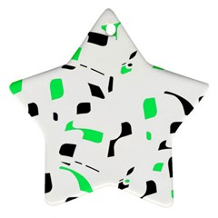 Green, Black And White Pattern Star Ornament (two Sides)  by Valentinaart