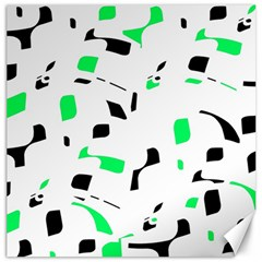 Green, Black And White Pattern Canvas 16  X 16   by Valentinaart