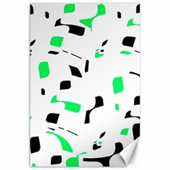 Green, Black And White Pattern Canvas 24  X 36