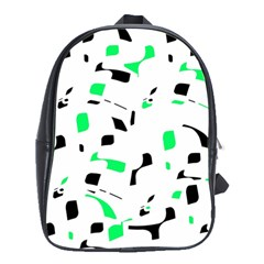 Green, Black And White Pattern School Bags(large)  by Valentinaart