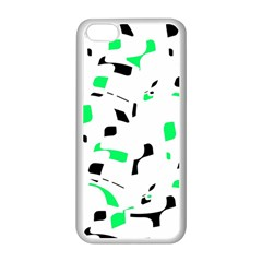 Green, Black And White Pattern Apple Iphone 5c Seamless Case (white) by Valentinaart