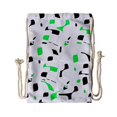 Green, Black And White Pattern Drawstring Bag (small) by Valentinaart