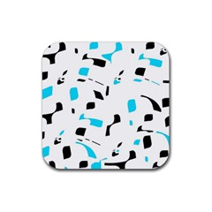 Blue, Black And White Pattern Rubber Coaster (square)  by Valentinaart