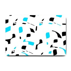 Blue, Black And White Pattern Small Doormat  by Valentinaart