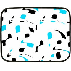 Blue, Black And White Pattern Fleece Blanket (mini)